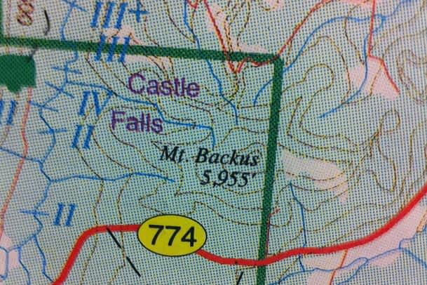 Most of Mount Backus lies just inside the Castle Crown Wilderness REgion boundary.