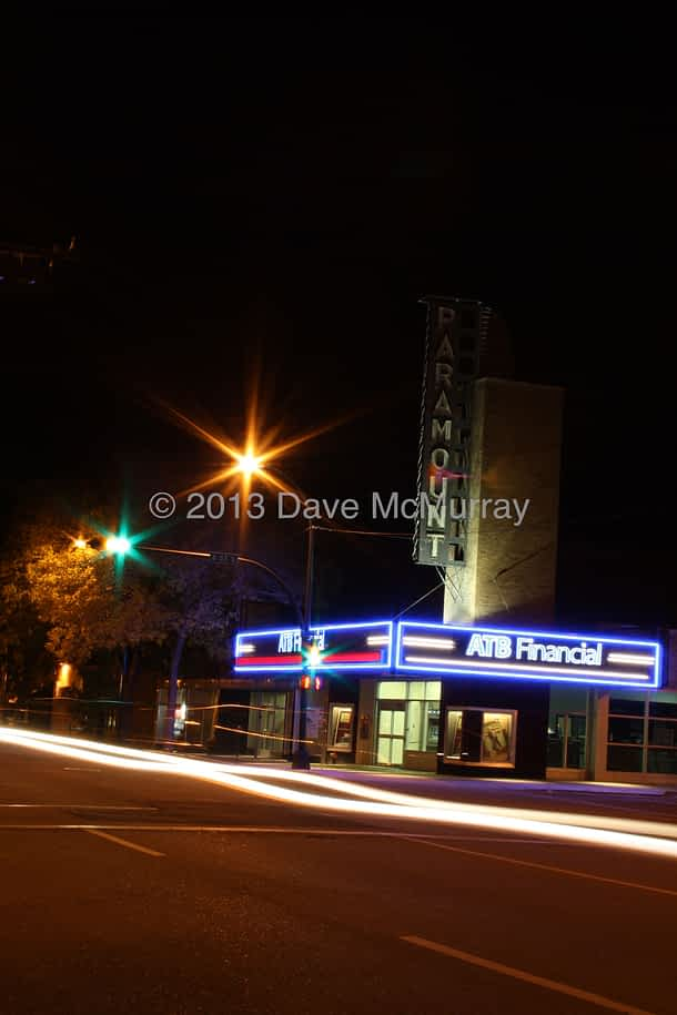 Old Paramount Theatre at Night - early experiments at night photography