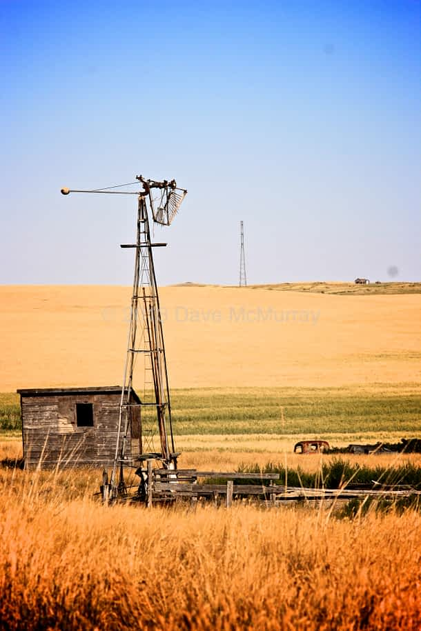 An Old Windmill on an Abandoned Farm - Southern Alberta